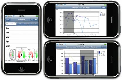 Qlikview para iPhone, gran uso del Multi-Touch y GPS