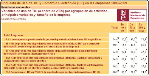 INE - Informe 2008 - 2009 uso de las TIC en las empresas