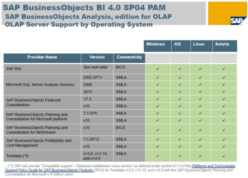 SAP BO BI 4.0 SP4 - PAM - Fuentes OLAP