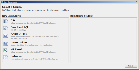 SAP Visual Intelligence - Posibles fuentes de datos