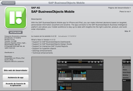 App SAP BusinessObjects Mobile 4.4.12 compatible con Xcelsius