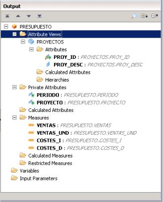 Atributos y medidas de la Vista Analítica - SAP HANA Studio