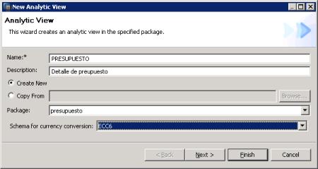 Definción de la Vista Analítica  - SAP HANA Studio