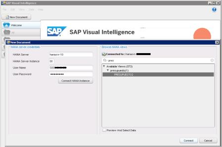 Definición de la conexión a un servidor SAP HANA y selección de la Vista de Información que se desea utilizar en el diseño de un nuevo documento SAP Visual Intelligence