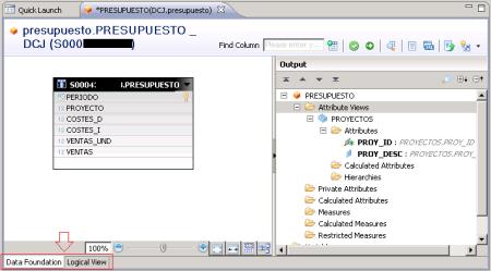 Editor gráfico de vistas analíticas - SAP HANA Studio