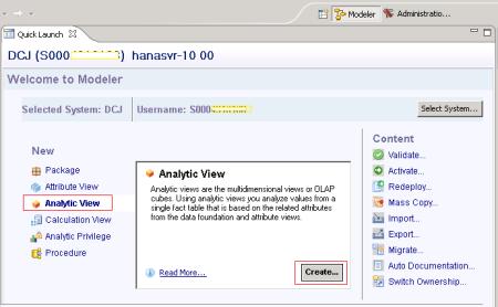 Opción para iniciar la creación de una Analytic View - SAP HANA Studio