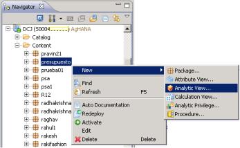 Otra vía para iniciar la creación de una Analytic View - SAP HANA Studio