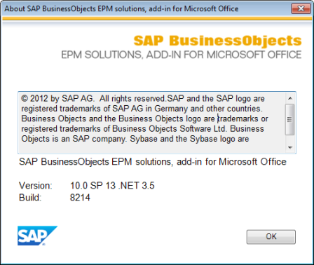 SAP BusinessObjects EPM Add-in 10.0 SP 13