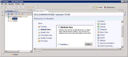 SAP HANA Studio - Perspectiva Navigator y el Quick Launch (La apariencia se personaliza vía el menú Window)