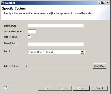 SAP HANA Studio - Ventana para especificar los parámetros de conexión