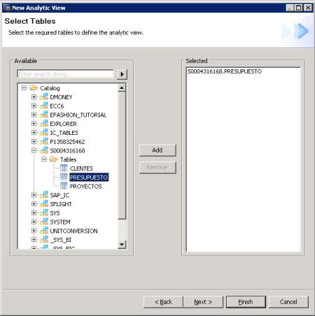 Selección de las tablas para la vista Analítica - SAP HANA Studio