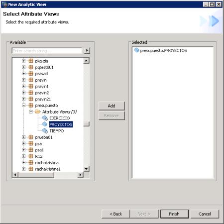 Seleccion de Vistas de Atributos para definir una vista Analítica - SAP HANA Studio