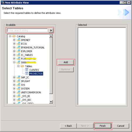 Selecciona la tablas o tablas que utilizaremos para crear nuetra vista de atributo en SAP HANA
