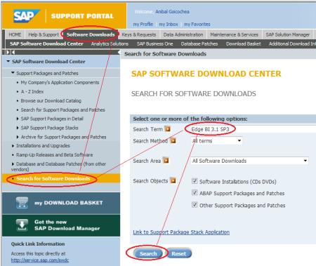 Buscando actualizaciones de versiones anteriores de SAP BO