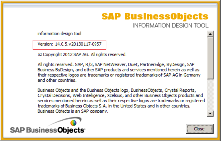 Ventana Acerca de (About) de Information Design Tool incluido dentro de las aplicaciones cliente de BI4 SP5 Patch 03