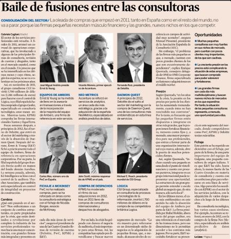 Artículo Baile de fusiones entre consultoras del Diario Expansión del 14 de enero 2013