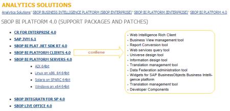 Opciones disponibles en SAP Marketplace para descargar las actualizaciones de BI4