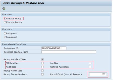 Ventana de la transacción UJBR de SAP BPC NW 7.5 SP10 y SAP BPC NW 10.0