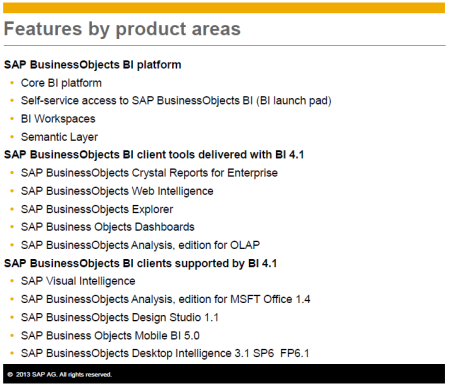 Componentes de la plataforma SAP BusinessObjects Businness Intelligence 4.1