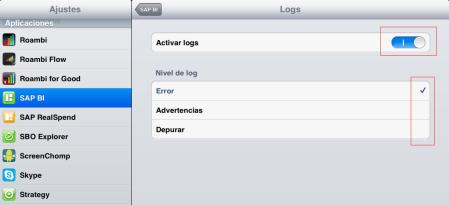 En la aplicación Ajustes, opción Aplicaciones, App SAP BI, activas la generación de ficheros logs y defines el nivel de log, en muchas ocasiones será recomendable el nivel Debug