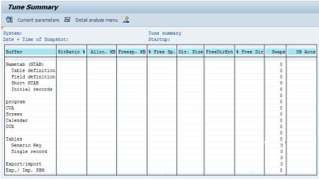 Estructura de la ventana de la transacción ST02 para ver los buffers del sistema
