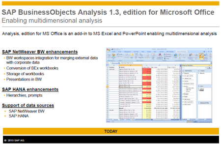 Hoja de principales características de SAP Analysis, edition for Office 1.3, la versión más actualizada hasta abril 2013