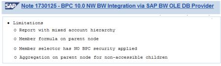 Limitaciones al utilizar otra herramienta de reporting externa a SAP BPC utilizando el conector SAP BW OLE DB (ODBO-XLMA) tal como BEx Analyzer