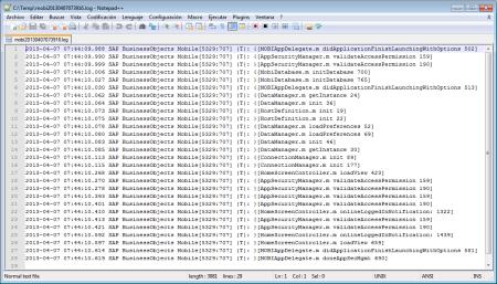 Muestra del contenido del fichero log