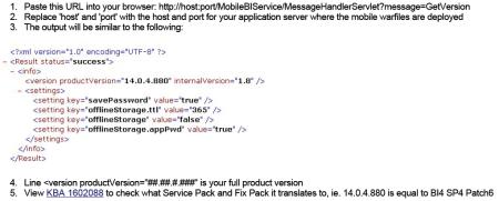 Pasos para identificar la versión del servidor mobile de SAP BI