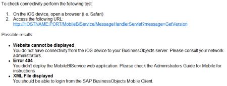 Pasos para verificar la conexión con un servidor SAP BO BI desde un dispositivos iOS