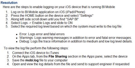 Pautas para generar y abrir el fichero log de SAP BI mobile en tu dispositivo iOS