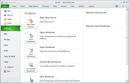 SAP Analysis, edition for MS Office 1.3 (menu01)
