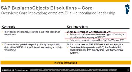 SAP BusinessObjects BI road map, planes de mejora de la conectividad a través de querys BEx