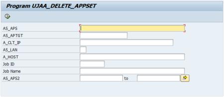Ventana del programa UJAA_DELETE_APPSET