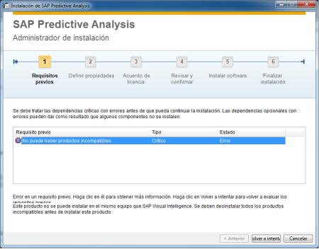 Mensaje al intentar instalar Predictive Analysis en un ordenador que ya tiene Visual Intelligence