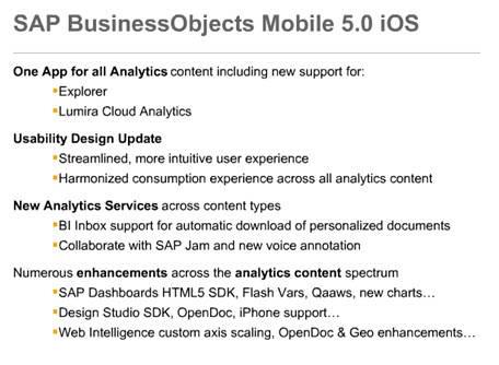 Principales novedades de SAP BI Mobile 5.0