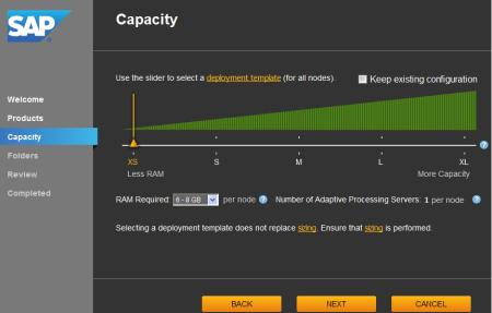 System Configuration Wizard, ficha Capacity,para seleccionar la plantilla de configuración del sistema