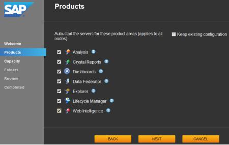 System Configuration Wizard, ficha Products, para seleccionar los productos que se utilizarán, en función de esta selección se establece el inicio automático de los servidores requeridos