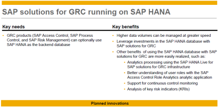 SAP GRC powered by SAP HANA