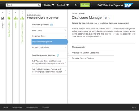 SAP Solution Explore, detalle de una solución