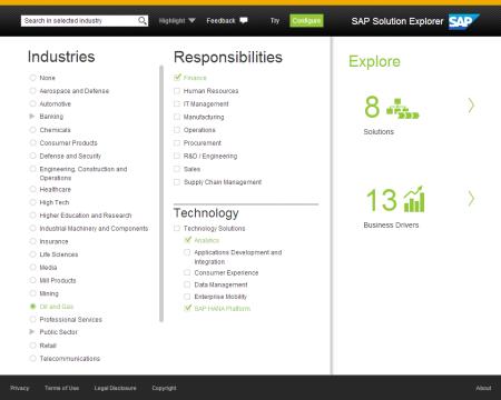 SAP Solution Explore, Especificación de los parámetros básicos; industria, área de responsabilidad y tecnología