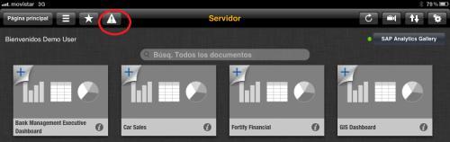 Llamada al panel de alertas en BI mobile