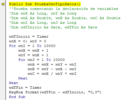 Rutina para comprobar la eficiencia que se logra en VBA al declarar adecuadamente todas las variables que se utilizarán