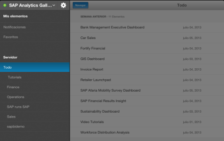 SAP BI Mobile 5.0.5, panel principal