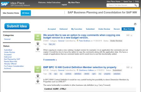 Consultando las propuestas de mejora en SAP Idea Place para SAP BPC NW