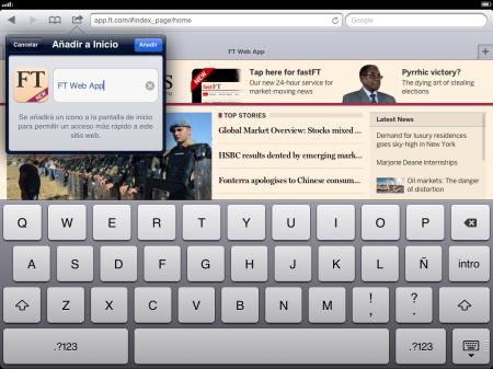 Instalando app.FT.com en la pantalla inicio del dispositivo