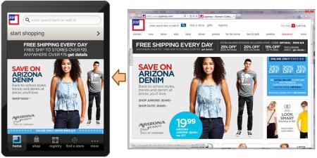 JC Penney es una Aplicación hibrida, nos ofrece la misma aplicación Web embebida en un navegador para iPhone