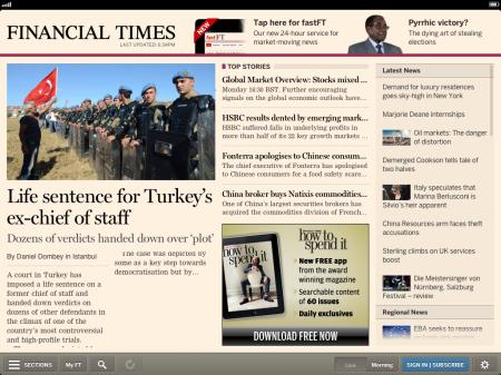La aplicación del Financial Times (app.ft.com) es el mejor ejemplo de aplicación web, con funcionalidades tan igual o supeiores que otras aplicaciones nativas