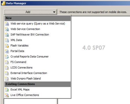 Opciones de conectividad de SAP Dashboards 4.0 SP7 vía menú Data Manager