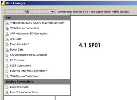 Opciones de conectividad de SAP Dashboards 4.1 vía menú Data Manager